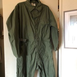 Men's army green flight suit pilot jumpsuit